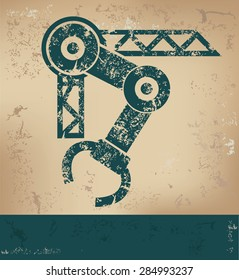 Mechatronic design on old paper background,grunge concept,vector