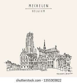 Mechelen, Belgium, Europe.  St. Rumbold's Cathedral on Grote Markt. Hand drawn travel postcard. Travel sketch. Hand drawing of Mechelen. Vintage hand drawn Belgium postcard. Vector illustration