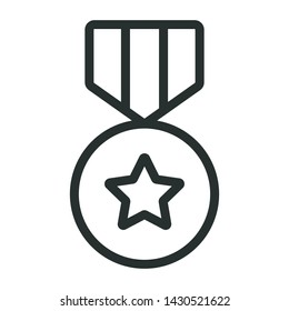 medal award - minimal line web icon. simple vector illustration. concept for infographic, website or app.