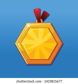 Medal award symbol. Golden badge for achievements.