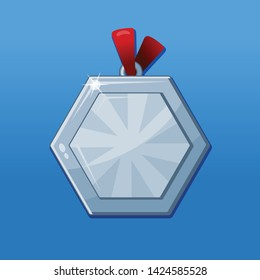 Medal award symbol. Silver badge for achievements