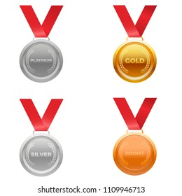 Medal award vector in four colors, platinum, gold , silver , and bronze