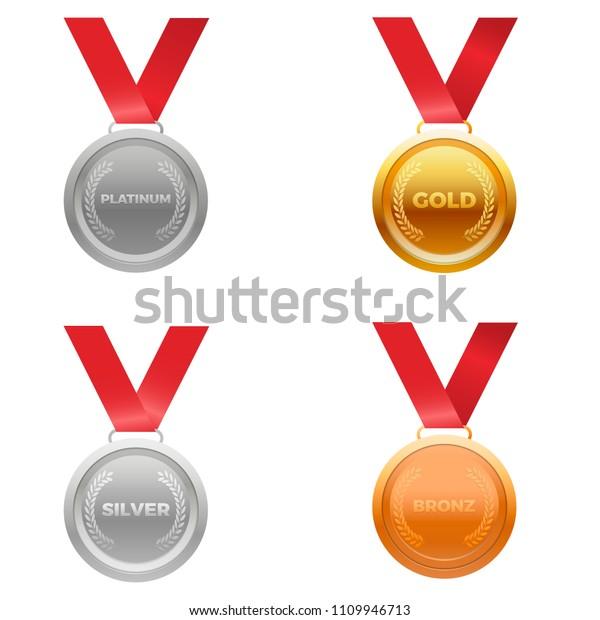 Medal Award Vector Four Colors Platinum Stock Vector