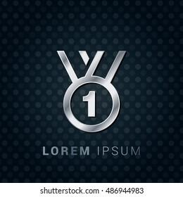 Medal First Place 3D Silver/Platinum/Steel Metallic Premium Icon / Logo Design
