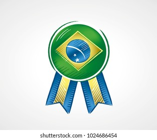 Medal with the flag of Brazil with bright colors in draft format done with brushstrokes, illustration for the year of presidential election in the country