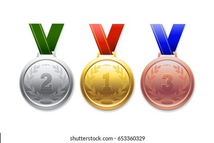 Medal gold, silver, bronze, for sporting achievements on a white background.