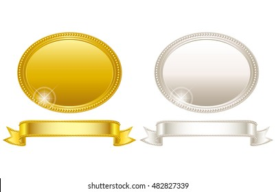 Medal. Gold and silver. Frame.