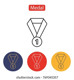 Medal icon isolated on white background. Symbol of the winner. Outline pictogram for web site design and mobile apps. Vector illustration. Editable stroke