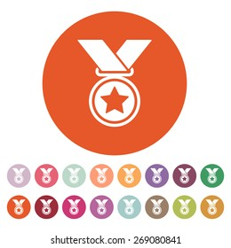 The medal icon. Prize symbol. Flat Vector illustration. Button Set