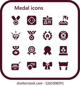 medal icon set. 16 filled medal icons. Simple modern icons about  - Medal, Dohyo, Accreditation, Achievement, Quality, Awards, Badge, Winner, Award, Pet, Reward, Ribbon, Banner