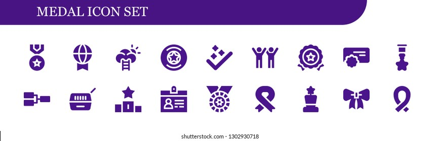 medal icon set. 18 filled medal icons.  Simple modern icons about  - Medal, Prize, Success, Badge, Reward, Competition, Pet, Podium, Accreditation, Ribbon, Award