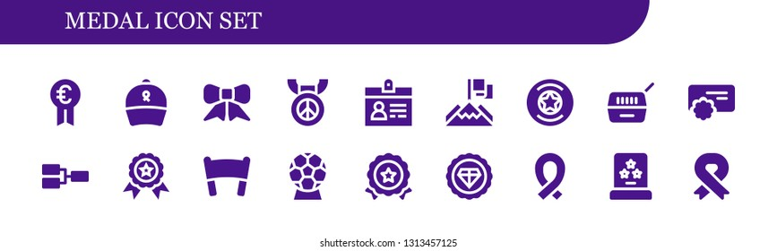 medal icon set. 18 filled medal icons.  Simple modern icons about  - Prize, Ribbon, Medal, Accreditation, Achievement, Badge, Pet, Reward, Competition, Winner, Banner, Award, Premium
