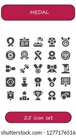 medal icon set. 25 filled medal icons. Simple modern icons about  - Ribbon, Accreditation, Achievement, Award, Medal, Badge, Winner, Quality, Premium, Competition, Sport, Scratcher