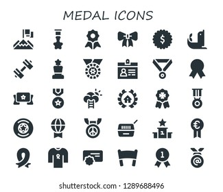medal icon set. 30 filled medal icons. Simple modern icons about  - Achievement, Badge, Quality, Ribbon, Seal, Sport, Award, Medal, Accreditation, Banner, Success, Awards, Prize
