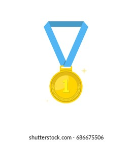 Medal icon. Sport and champion element. First place medal with red ribbon. Flat cartoon style. Vector illustration.