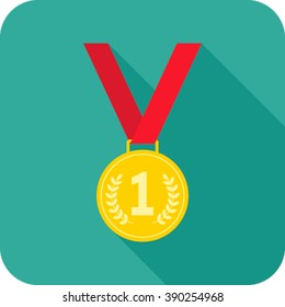 medal icon for web in a flat style. Vector isolated illustration