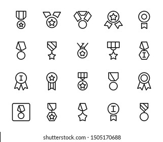 Medal line icon set. Collection of vector symbol in trendy flat style on white background. Award sings for design.