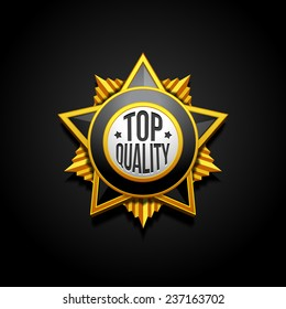 Medal Military Quality Star Stamp, Sticker, Tag, Label, Badge Sign Award Icon. On Black Background Isolated. Ready For Your Design. Vector EPS10