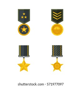 Medal of military valour. vector illustration.