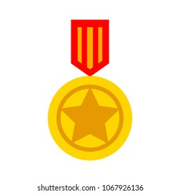 medal prize icon - vector award medal, first place illustration - winner sign