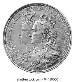 Medal queens Great Britain and Ireland (50 year jubilee) / vintage illustration from Meyers Konversations-Lexikon 1897