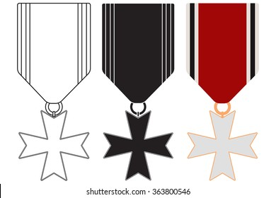 Medal with ribbon.  military cross . Vector illustration isolated on white background