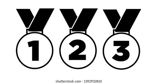 Medal set. First, second and third place. Vector illustration.