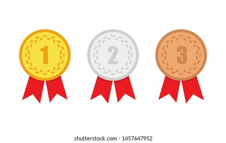 medal set gold, silver, and bronze in flat style