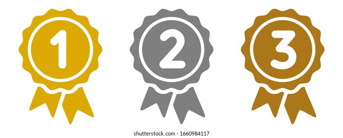 Medal set icon, gold, silver and bronze medals, 1st, 2nd and 3rd place – stock vector