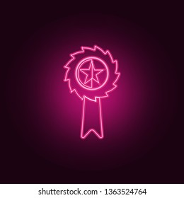 medal with a star icon. Elements of Sucsess and awards in neon style icons. Simple icon for websites, web design, mobile app, info graphics