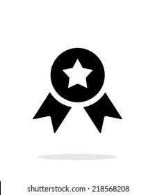 Medal with star simple icon on white background. Vector illustration.