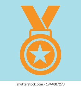 Medal star Vector icon. Achieve vector icon illustration sign. Award vector icon. Achievement. Can be used for Web, Mobile, Infographic and Print. EPS 10 Vector illustration.