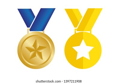 Medal with star. Vector illustration.