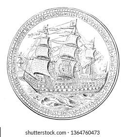 Medal struck in honour of James Duke of York By Thomas Simon, vintage line drawing or engraving illustration.