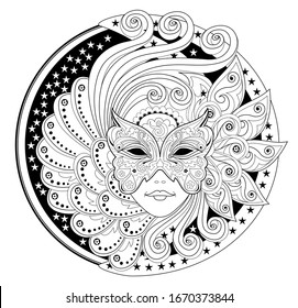 Medallion with portrait of fairy in carnival mask. Fantasy drawing of beautiful girl. Black and white page for coloring book. Modern print for fashion, embroidery, decoration. Hand-drawn vector image