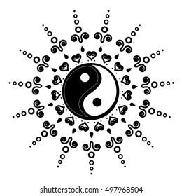 Medallion Yoga India Arabic Vector Henna Tatoo Mandala Yin Yang