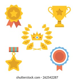 Medals, awards and achievements icons set. Vector illustration. Isolated on white background.
