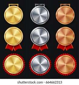 Medals Blank Set Vector. Realistic First, Second Third Placement Prize. Classic Empty Medals Concept. Red Ribbon. Sport Game Golden, Silver, Bronze Achievement Template. Honor Prize. Challenge Award