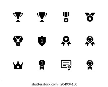 Medals and cup icons. Vector illustration.