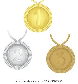 Medals first, second, third place. A set of characters. Vector illustration.
