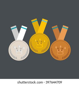 Medals flat design. Gold, silver and bronze medal with crown concept.