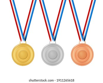 Medals golf on a white background. Vector illustration.