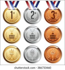 Medals with Ribbon. Set of Gold, Silver and Bronze Olympic Medals. Vector.