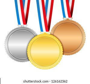 Medals with ribbons, vector eps10 illustration