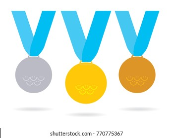 Medals set on the blue ribbons. Olympic games smiles on the medals. Vector illustration. PyeongChang 2018.