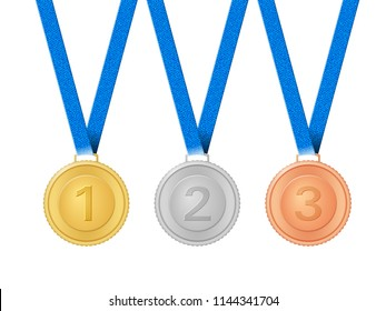 Medals set on a white background. Vector illustration.