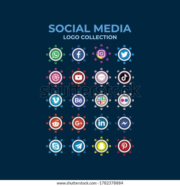 Medan, Indonesia - July 24, 2020: Gradient social media buttons logo collection. Set of most popular social media icons: Facebook, Instagram, Snapchat, Blogger,Twitter, Tango,Messenger.
