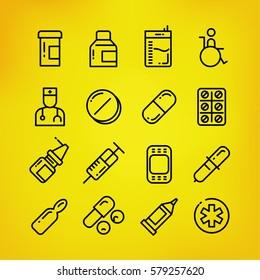 Medecine set line icon, vector illustration , EPS10
