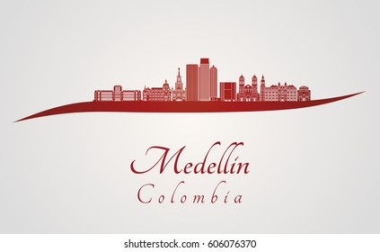 Medellin skyline in red and gray background in editable vector file