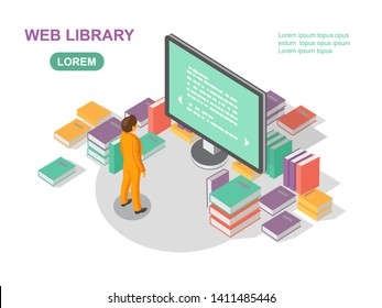 Media book library concept. Reading web archive. E-learning online, archive of books illustration. Flat isometric character with E-book